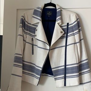Adrianna Papell Striped Linen Moto Jacket